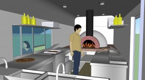 Pizza trailer 3D - inside view